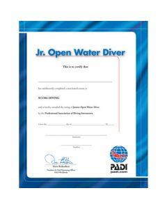 PADI Junior Open Water Diver Wall Certificate