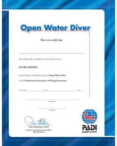 PADI Open Water Diver Wall Certificate