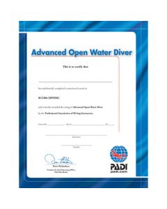 PADI Advanced Open Water Diver Wall Certificate
