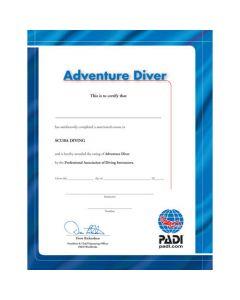 PADI Adventure Diver Wall Certificate