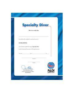 PADI Specialty Diver Certificate