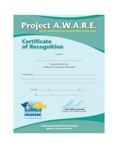 PADI Project AWARE Certificate