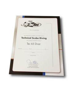 PADI Tec 65 Diver Wall Certificate