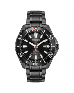 Citizen Mens Black Stainless Steel Divers Watch - Eco-Drive