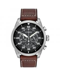Citizen Mens Avion Watch - Brown Leather Strap