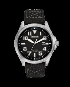 Citizen Mens Black Military Eco-Drive 200M Watch | AW1410-08E