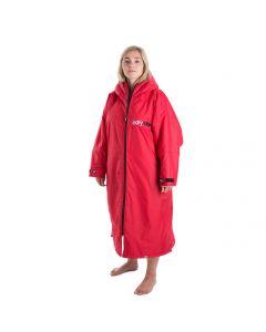 Dryrobe Advance Long Sleeve Changing Robe - Red/Grey