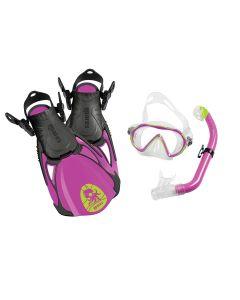 Mares Sea Friends Kids Snorkelling Set - Mask, Fins + Snorkel Set Purple