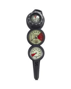 Scubapro 3 Inline 3 Gauge Console - Depth, Contents & Compass
