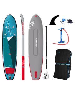 "Starboard iGo Zen 11'2"" Double Chamber iSUP Paddleboard Package + Lima Tufskin Paddle"