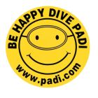 Be Happy, Dive PADI Decal